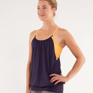 Lululemon no limits tank in navy blue/creamsicle